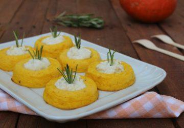 Sformatini di zucca con salsa di gorgonzola
