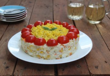 Insalata di riso,surimi e uova