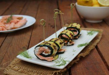 Involtini di zucchine grigliate con salmone