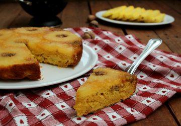Torta rovesciata all'ananas e noci SENZA BURRO