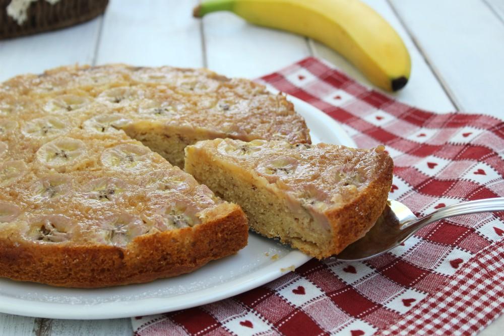 Torta rovesciata con banane SENZA BURRO