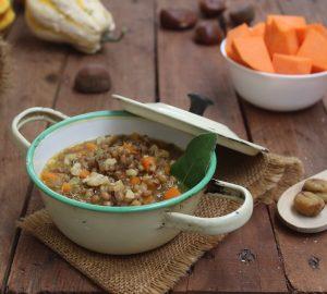 Zuppa con lenticchie e castagne