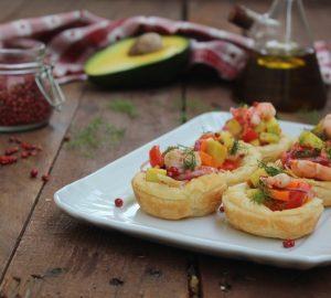 Cestini con verdure e gamberi