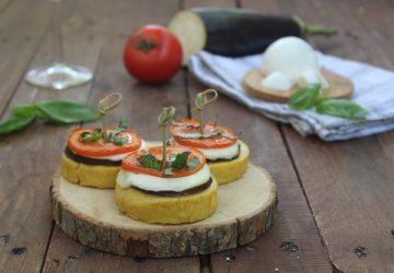 Bruschette di polenta con melanzane