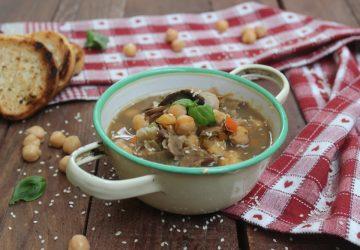 Zuppa con ceci e funghi