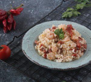 Risotto con pomodori secchi e gamberetti